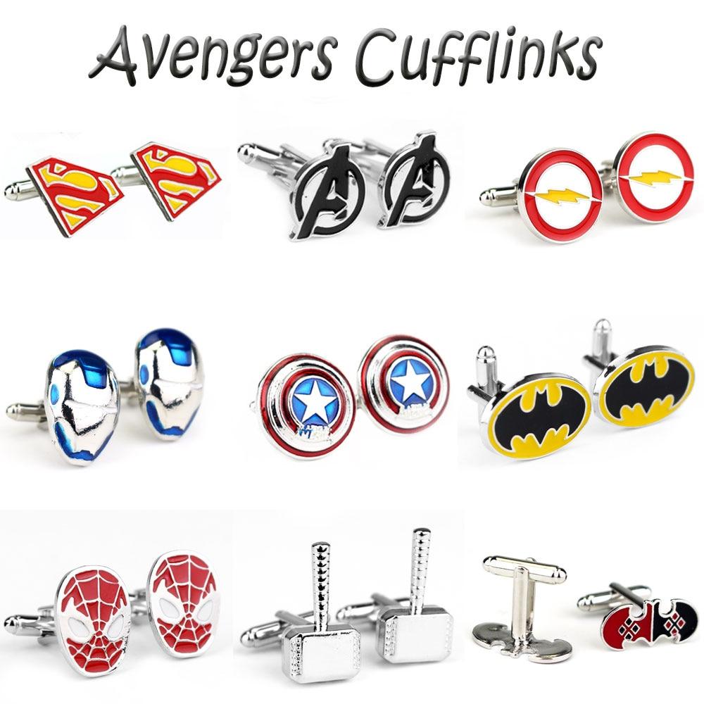 15 Style Marvel The Avengers Captain America Cufflinks Thor Hammer Iron Man Superhero Batman Charms Cufflinks For Men Jewelry