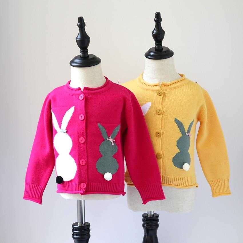 все цены на Girls Cardigan Sweater 2018 Spring Autumn Baby Cartoon Bunny Knit Sweater kids girls Cute Sweater