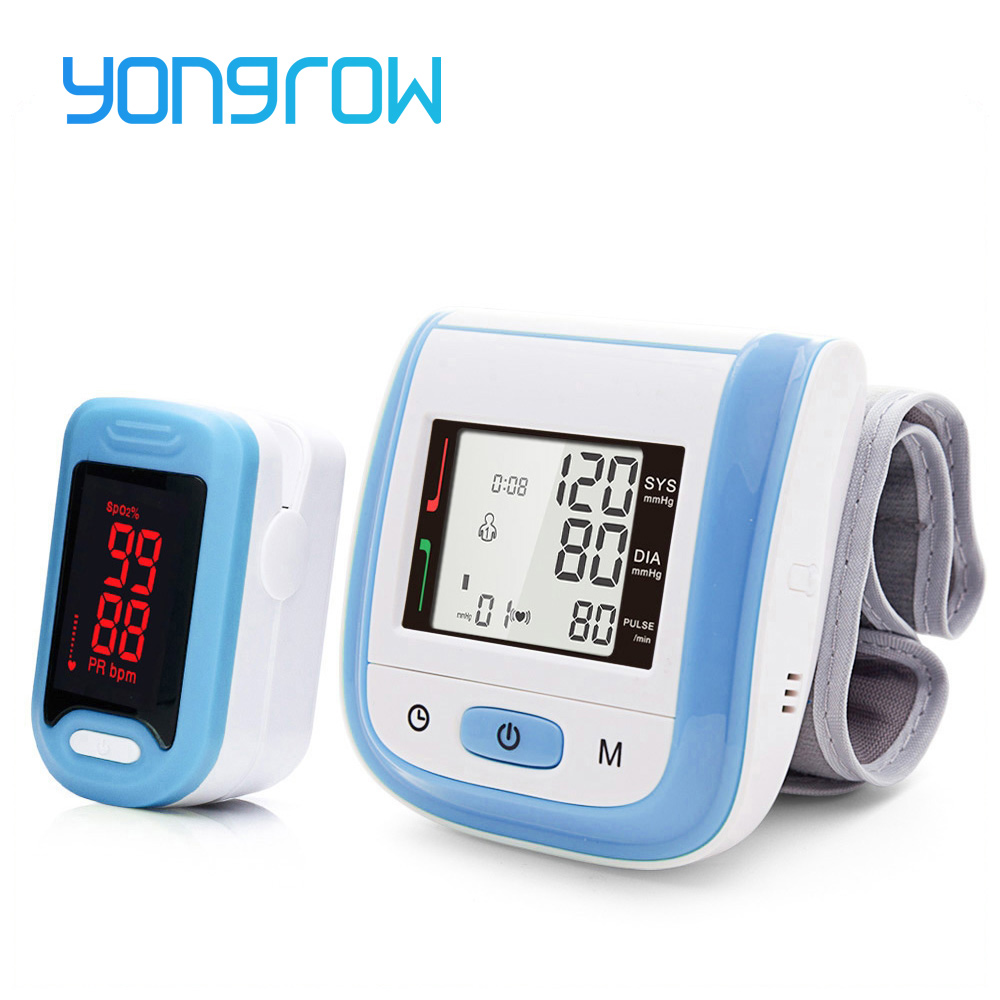 Yongrow Medical Digital Wrist Blood Pressure Monitor and LED Portable Fingertip Pulse Oximeter Health Care Family Gift Spo2 PR  Yongrow Medical Digital Wrist Blood Pressure Monitor and LED Portable Fingertip Pulse Oximeter Health Care Family Gift Spo2 PR