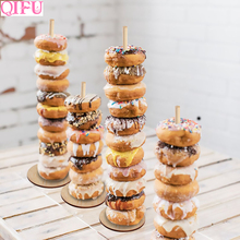 QIFU 1pcs Donuts Stand Donut Wall Display Holder Wedding Birthday Party Decoration Kids Favor Baby Shower Wood Decor