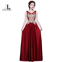 LOVONEY Satin Evening Dresses Long Sexy Open Back Formal Dress Women Party Dresses 2017 New Arrival