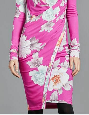 Frauen neue mode rosa druck stricken dünnes kleid langen ärmeln-in Kleider aus Damenbekleidung bei  Gruppe 3