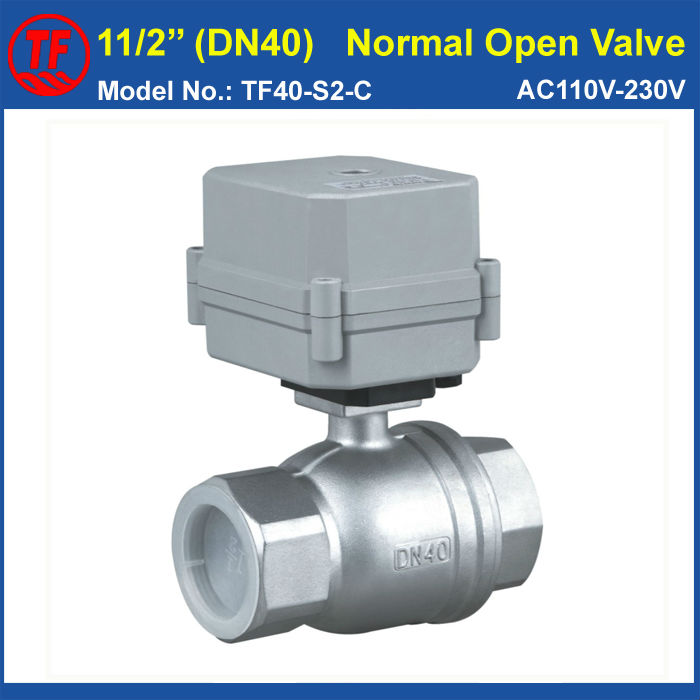 Stainless Steel 1-1/2'' (DN40) Normally Open Electric Ball Valve AC110V-230V 2 Wires 2-Way Full Port For Water Control System 24v normally open normally close electric thermal actuator for room temperature control three way valve dn15 dn25