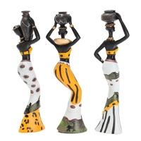 KiWarm 3PCS African Lady With Vase Ornament Ethnic Statue Sculptures National Culture Table Adornments Figurine Home