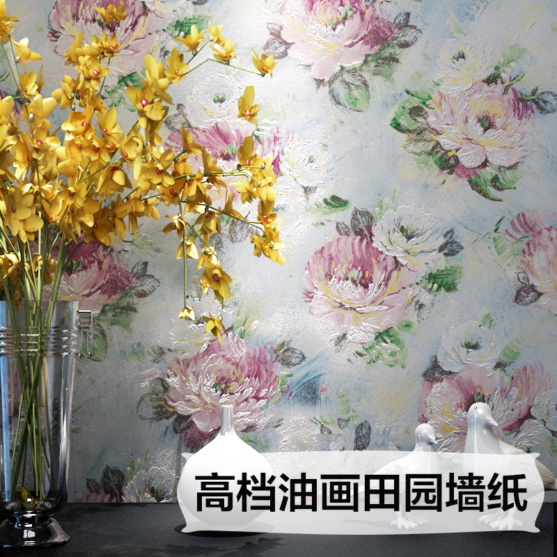 High-grade non-woven fabric painting techniques pastoral style wallpaper wallpaper bedroom living room 3d lifelikel art high grade non woven fabric of green chinese trumpet creeper wallpaper europe type restoring ancient ways sitting room bedroom