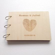 Custom Wedding Wooden Signature Guest Book Heart Finger Print Photo Album Personalized Blank Scrapbook 50 Pages A5 Party Decor