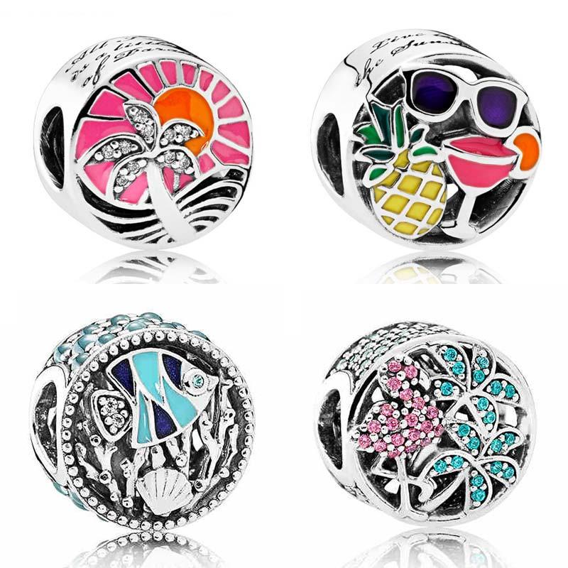 Emaille Sommer Spaß Tropical Sunset Ozean Leben Tropical Flamingo Perlen Fit Pandora Armband 925 Sterling Silber Charme Schmuck