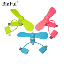 BinFul 100% tested Mini 3 in 1 Portable Micro USB C Fan For iPhone 5 6 7 plus Fan for Huawei Android OTG Smartphones USB Gadget