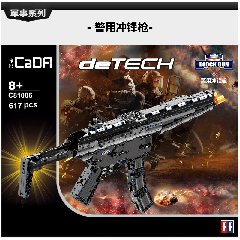DIY Block Gun Toys SWAT Police Submachine Gun Weapons Model Assembled Bricks Compatible With Legoed Blocks Launch Rubber band 1 1 508pcs mp7 submachine assault gun weapon swat arms model 3d diy building blocks bricks kids toy gift compatiable with lego