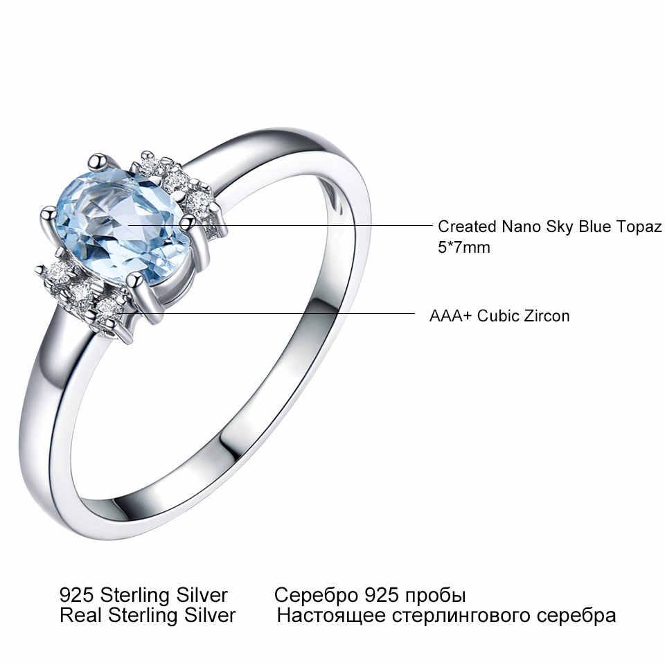 UMCHO รูปไข่สร้าง NANO Sky Blue Topaz Birthstone แหวน 925 เงินแท้เครื่องประดับอัญมณีแหวนของขวัญเครื่องประดับ Fine
