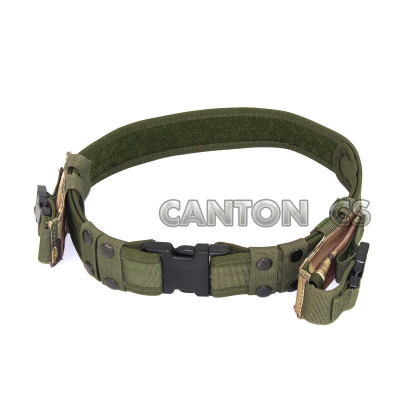 2 Heavy Duty Tactical Belt Camouflage Utility Pistol Belts with Dual Pistol Bullet Tool Knife Belt Pouch Fits 40 Waist image