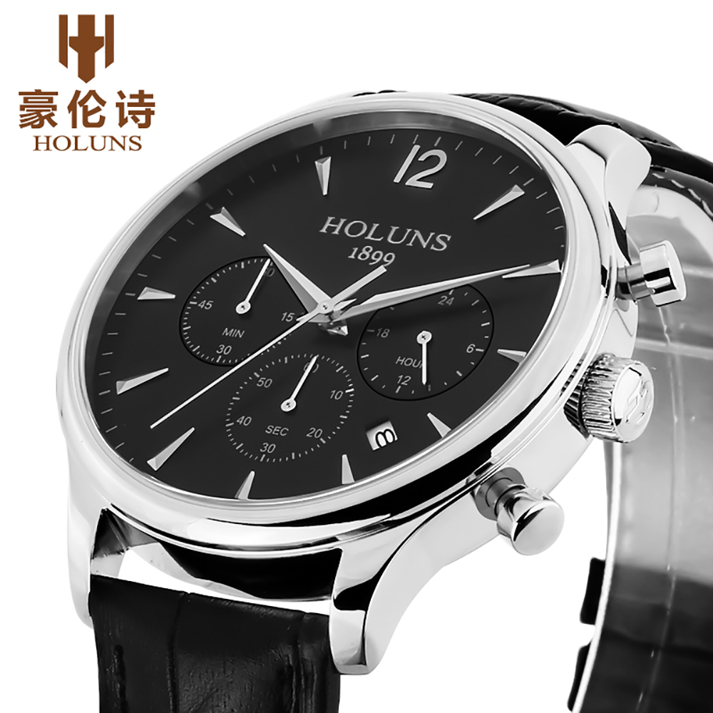 Top Brand HOLUNS Waterproof Mens Watches Luxury 24 hour Date Quartz Business Man Leather Wristwatch for Male Clock Gift mike davis knight s microsoft business intelligence 24 hour trainer