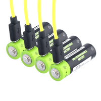 4x High Quality Usb Charged Aa Battery 1.5v 1250mah Li polymer Batteries Pcb Protected AA Lithium Bateria + USB Cable + Charger