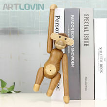 Danmark Wooden Hanging Monkey Doll Figurines Teak Wood Creative Animal Statues Models Home Decoration Arts Crafts Toys and Gifts(China)