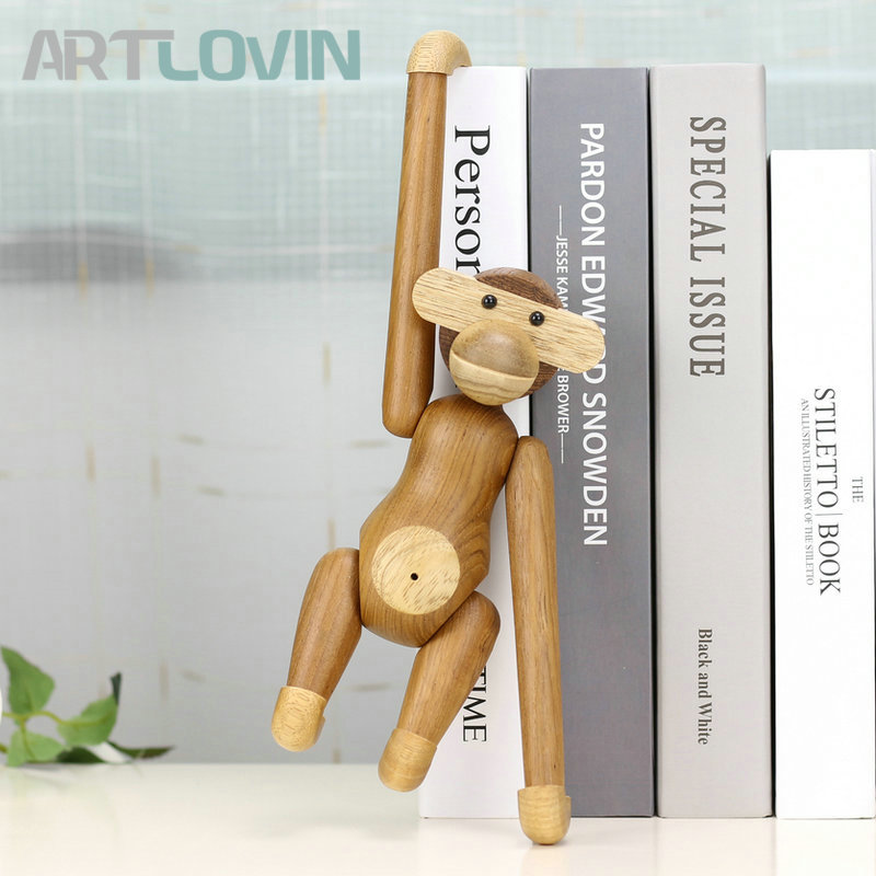 Danmark Wooden Hanging Monkey Doll Figurines Teak Wood Creative Animal Statues Models Home Decoration Arts Crafts Toys and Gifts