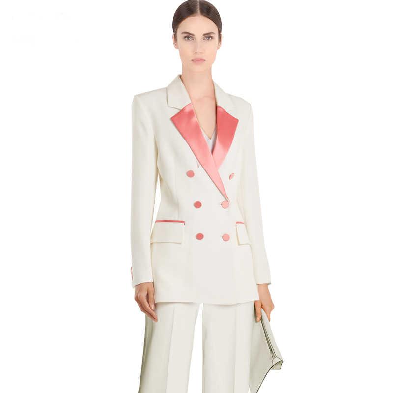 新到着女性プロ気質ダブルブレストファッションロング固体スーツワークスタイルスリムパンツ快適なパンツスーツ
