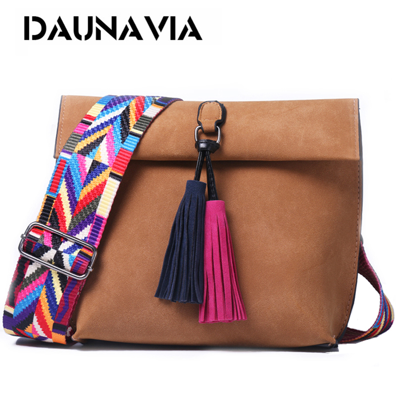 DAUNAVIA Women Scrub Leather Design Crossbody Bag Girls With Tassel Colorful Strap Shoulder Bag Female Small Flap Handbags