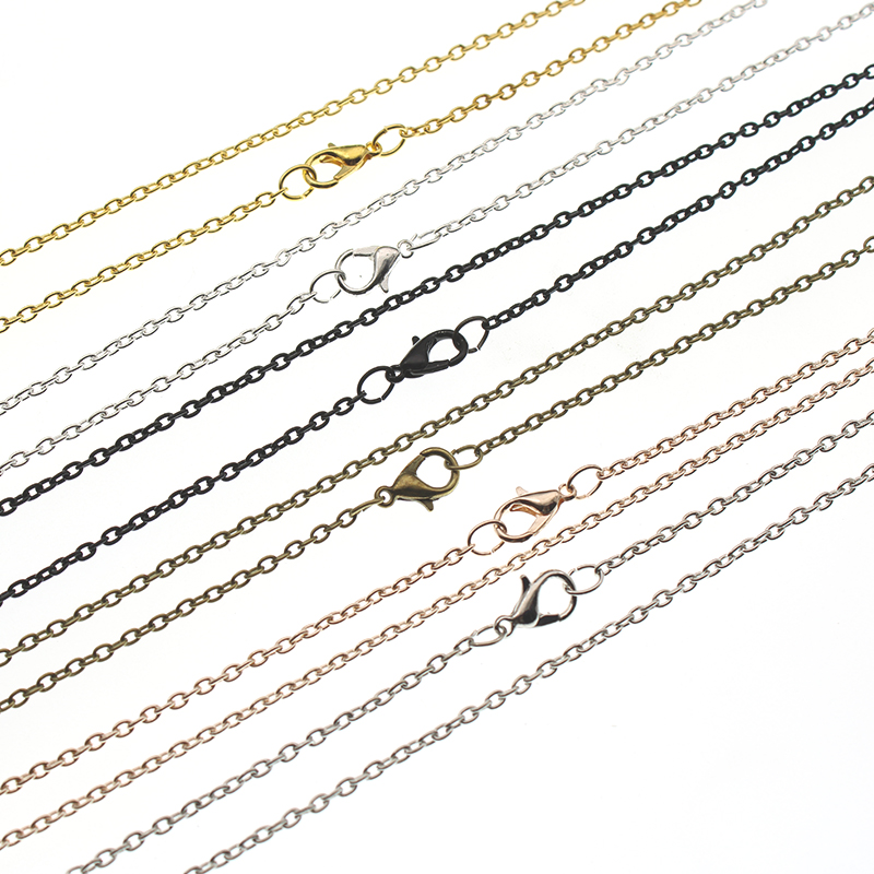 10pcs Rose Gold Black Bronze Silver Plated Metal Chain Necklace Chains Bulk Lobster Clasps Chain DIY Jewelry Making 60cm Z690