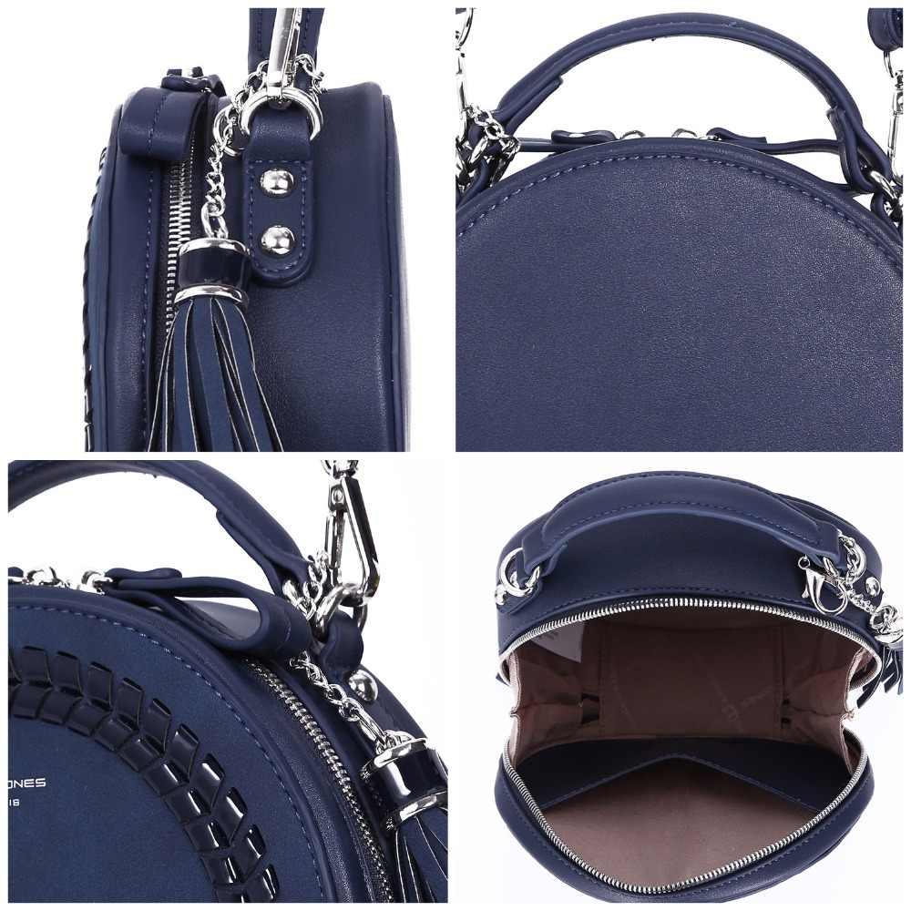 a344a5109728 ... DAVIDJONES women shoulder bags pu leather female handbag mini lady  knitting round bag girl brand circular ...