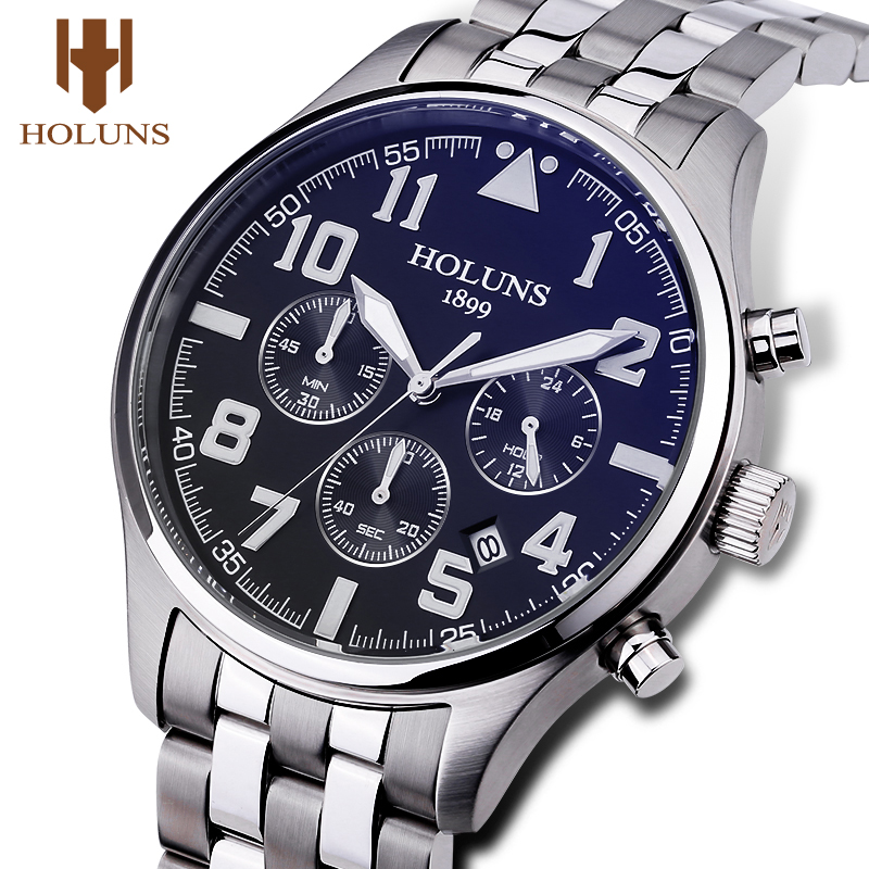 Holuns Mens Watches Luxury Fashion Quartz Male Business Sport Wrist Watch Classic Relogio Masculino Stainless Steel