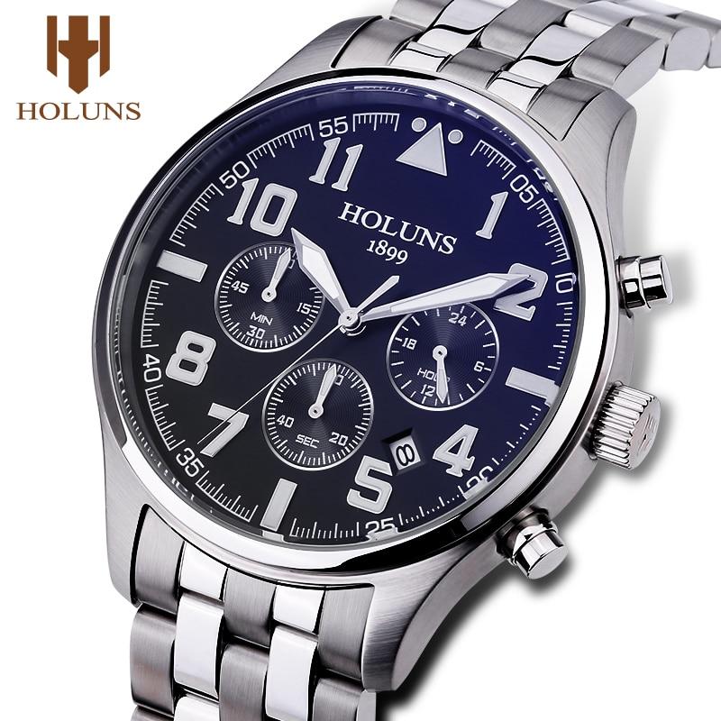 Holuns Mens Watches Luxury Fashion Quartz Male Business Sport Wrist Watch Classic Relogio Masculino Stainless Steel