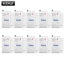 KERUI 10 unids/lote Sensor inalámbrico de ventana de puerta 433MHz Sensor de seguridad inteligente Gap Detector de alarma de puerta para sistema de alarma de seguridad para el hogar