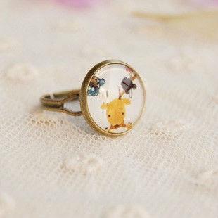 Wholesale Little Reindeer Ring Adjustable Antique Bronze Cameo Ring 12pcs/lot JZ002