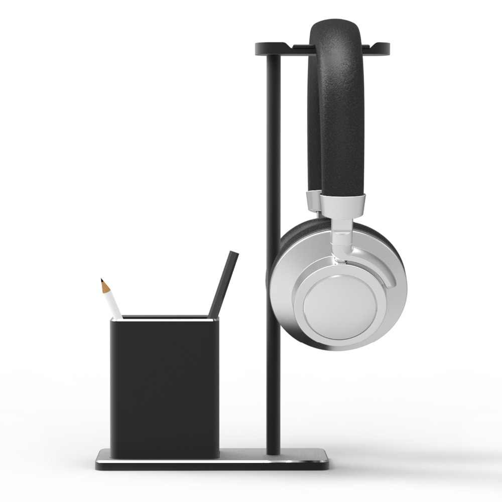 RevoNext Headphone Holder Fashion Design Metal Texture Headphone stand with pen holder Earphone Headset desktop Stand hanger