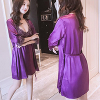 sexy Night gown Sling nightdress ice silk two piece robe women's 2019 summer adult silk sexy thin straps nightdress Female s8
