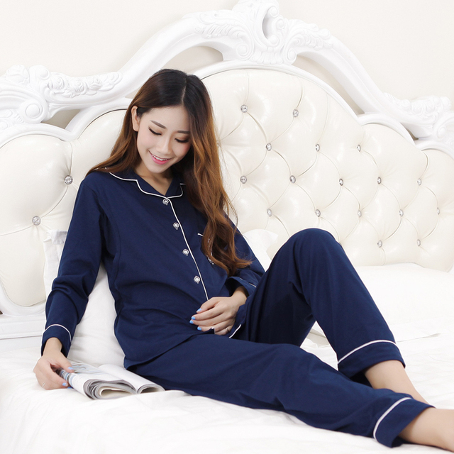 Cotton Materinty Nursing Pajamas Long Sleeve Solid Pajamas Set Maternity Sleepwear for Pregnant Nursing Tops+Pant Nightgown B120
