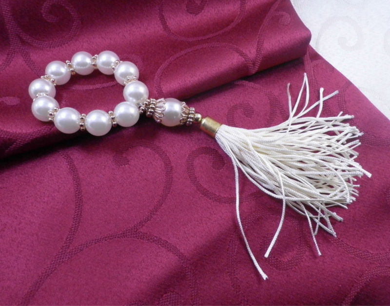 white pearl tassel napkin ring beaded wedding napkin holder china