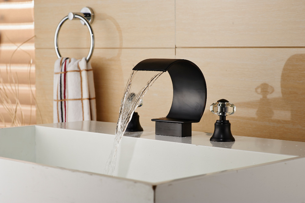 New Luxury Oil Rubbed Bronze Waterfall Bathroom Faucet Crystal Handles Mixer Tap China Mainland