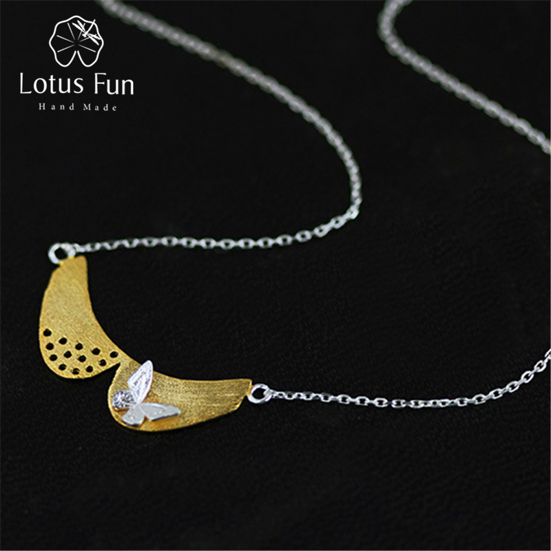 Lotus Fun Real 925 Sterling Silver Natural Handmade Fine Jewelry Cute Peter Pan Collar Necklace with Pendant for Women Collier sweet peter pan collar button back women s tank top