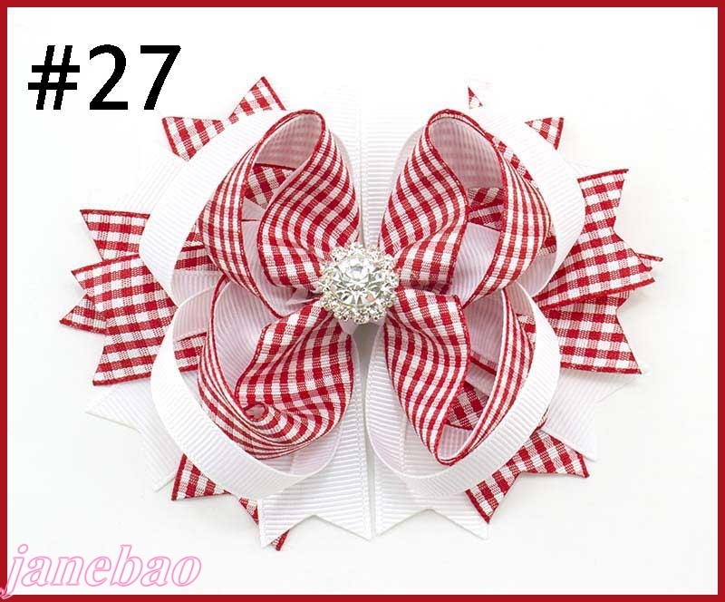 free shipping 50pcs 4 5 rhinestone hair bows gingham hair bows diamond silver shinne checked hair