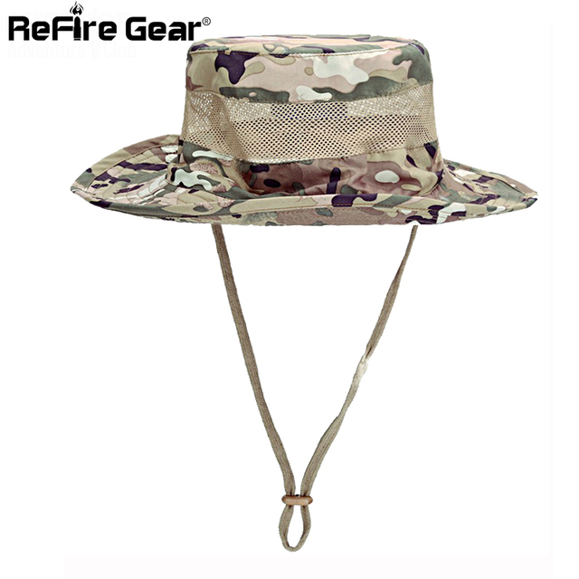 Summer Tactical Army Camouflage Boonie Hats Men Quick Dry Breathable Mesh  Multicam Camo Cap Casual Paintball Military Bucket Hat df1e13bf596