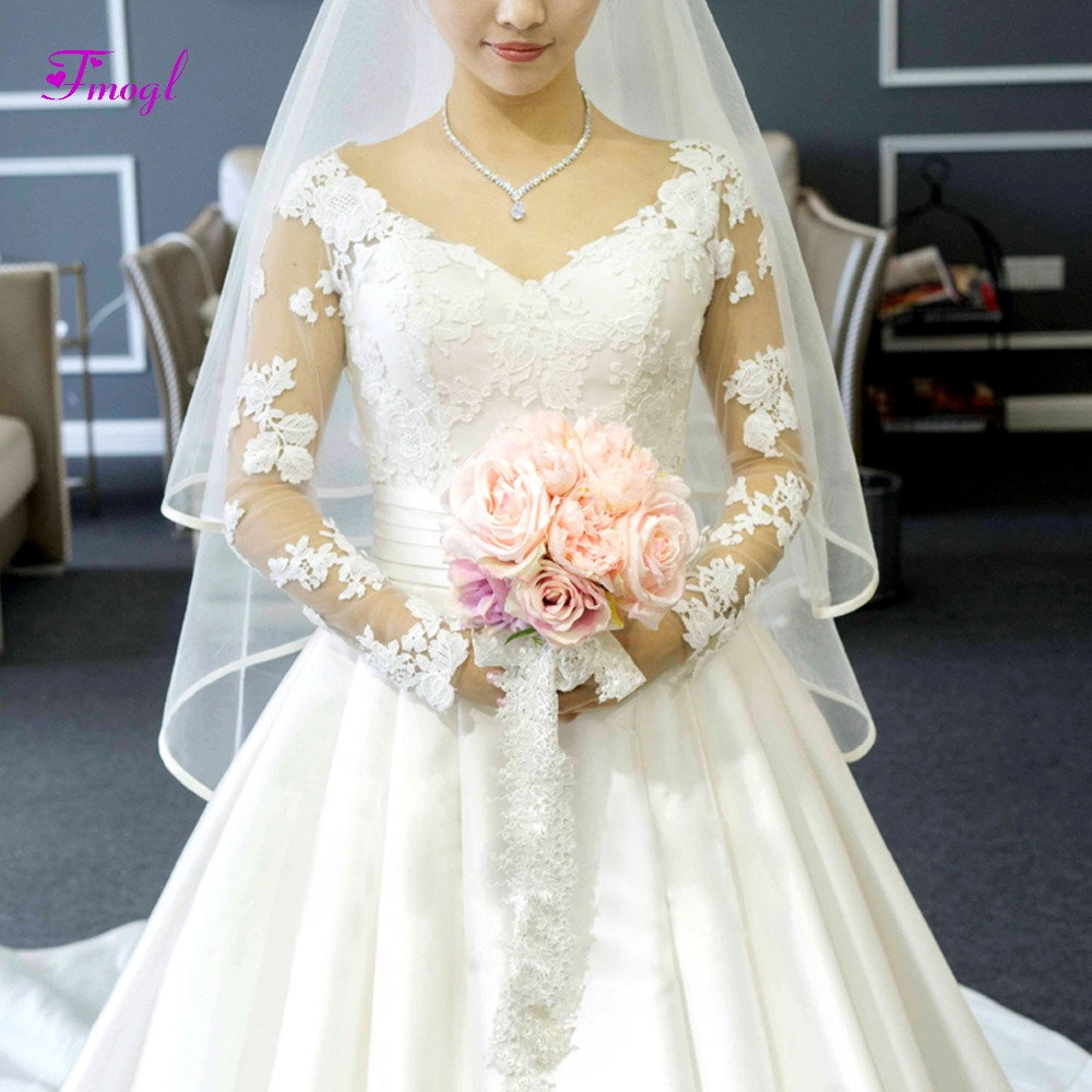 Long Sleeve V Neck Wedding Gown: Fmogl Sexy V Neck Appliques Long Sleeves A Line Wedding