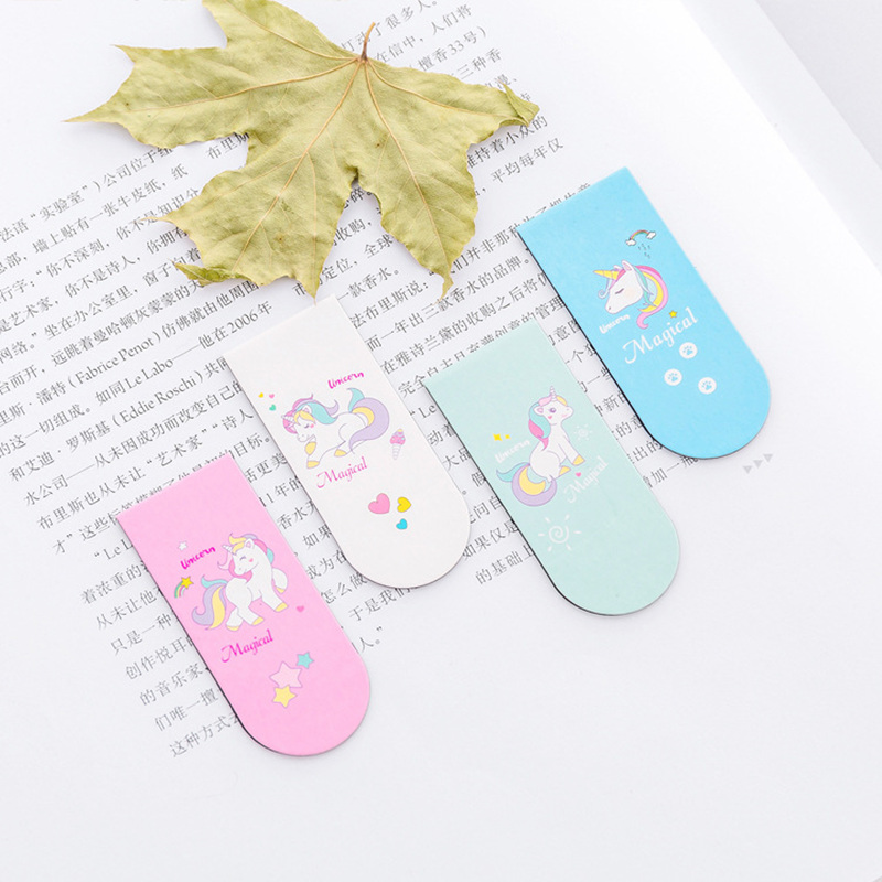 4pcs Lucky Unicorn Magnetic Bookmarks For Books Mark Cartoon Magnet Clips Girl Kids Gift Stationery Office School Supplies F026