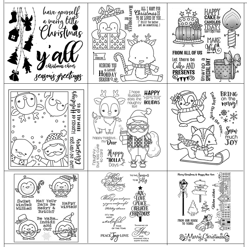 Merry Christmas Transparent and Clear Stamp DIY Scrapbooking Album Card Making Decoration