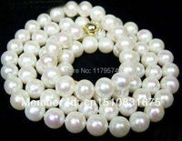 7 8mm AAA White Akoya Cultured Pearl Necklace 34 14K Claspxu19