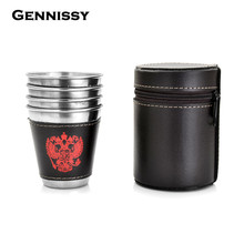 GENNISSY 4pcs/set Winebowl Stainless Steel Whiskey Hip Flask Set Hot Selling Outdoors BBQ Portable Drinkware