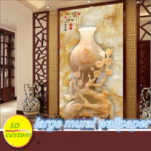 Customized 5D silk large mural wallpaper 3d Chinese embossed jade carving porch vase rich and precious aisle
