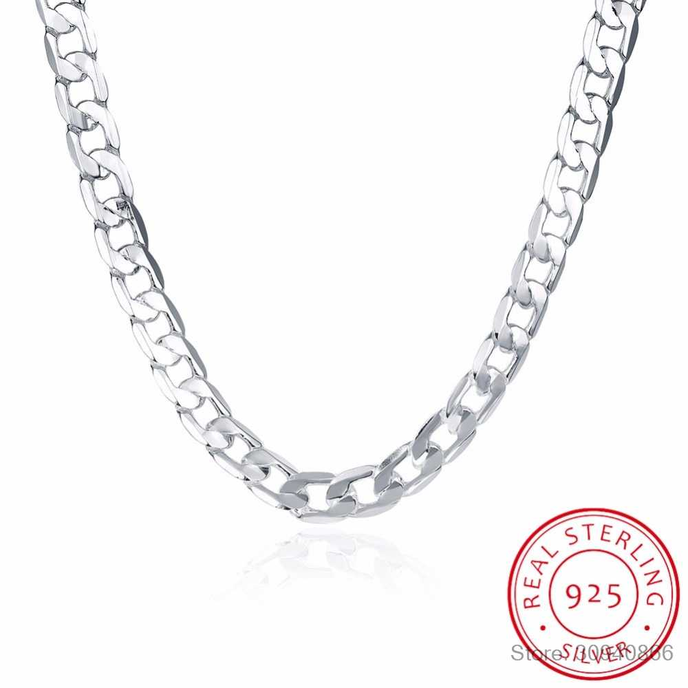 10MM 20inch men's jewelry silver fine jewelry Authentic 925 Sterling silver men necklace Link Chains necklace men Russian