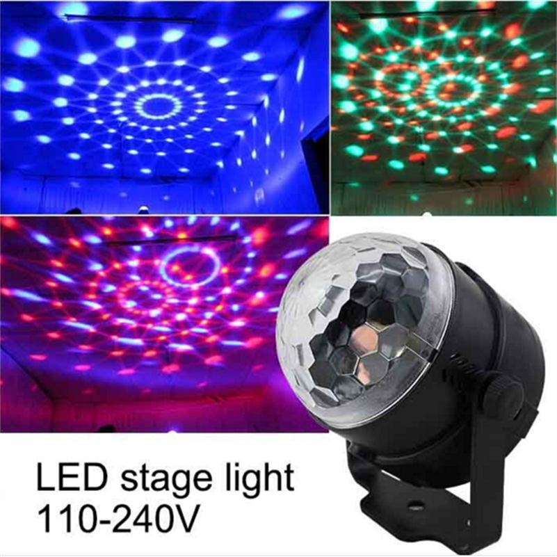 3W Mini RGB LED Christmas Stage Effect Lighting Party Dance Disco Club Projector DJ Light Show US/EU Plug Voice-activated Lamps