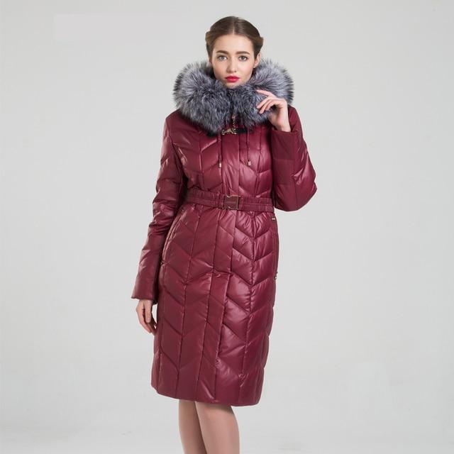 Mulheres Jaqueta de Inverno 2016 Grande Gola De Pele Artificial Snowka Luxuoso Quente Engrosse Branco Duck Down Parka Mulheres Longa Casaco Outwear