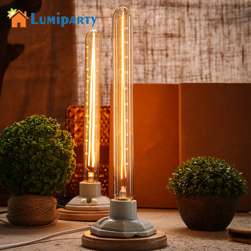 LumiParty Antique Light Bulb Classical Edison Bulb E27 8W Filament Tubular Nostalgic Filament Incandescent Home Lamp