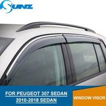 Window Visor for PEUGEOT 307 2010-2018 side window deflectors rain guards 308 SEDAN SUNZ
