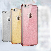 2016 Luxury Plating Glitter+Electroplating TPU Soft Mobile Phone Cases For iPhone 5 5s SE 6 6s 6Plus 6s Plus Case Cover Coque