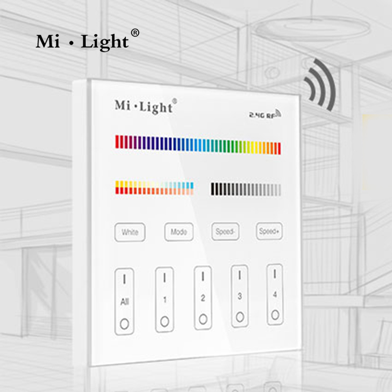 Milight t4 ac220v 4 zone rgbcct smart panel remote controller milight t4 ac220v 4 zone rgbcct smart panel remote controller brightness dimmer for led strip light might lamp or bulb in dimmers from lights lighting aloadofball Gallery