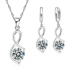 Women Geometric Enagagement Wedding Fashion CZ Jewelry Set 925 Serling Silver Necklace Earrings Sets Free Shipping