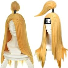 Аниме naruto; deidara 65 см длинные прямые золотисто-желтые термостойкие волосы косплей костюм парик+ трек+ парик шапка